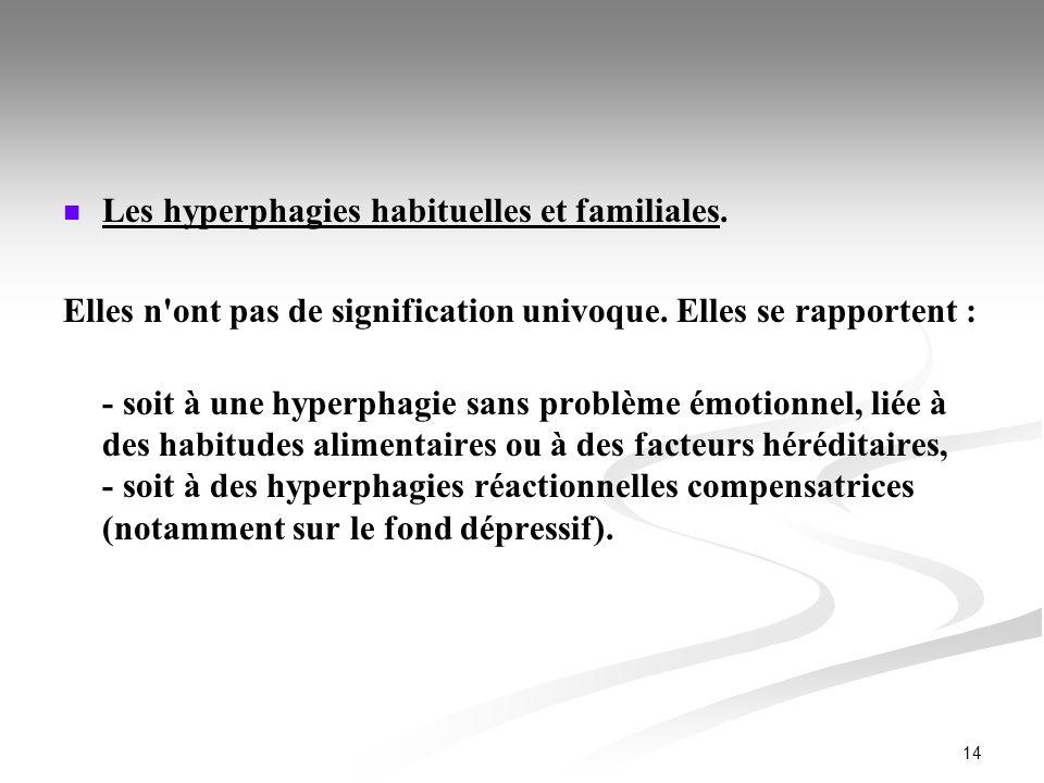 Les hyperphagies habituelles et familiales.