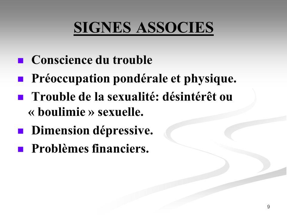 SIGNES ASSOCIES Conscience du trouble
