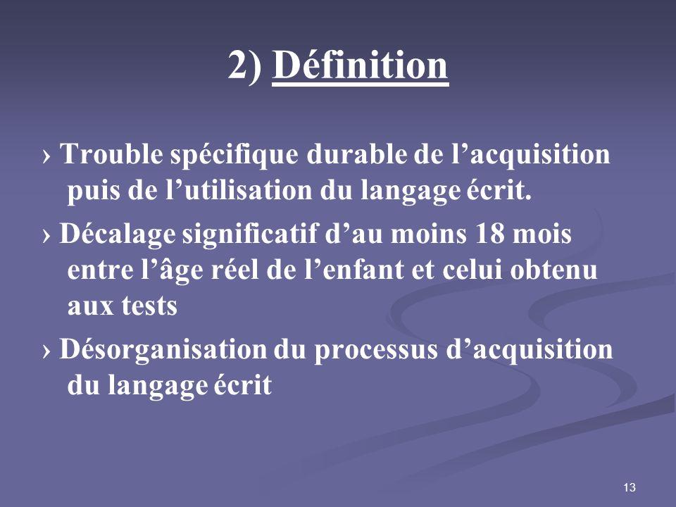 2) Définition › Trouble spécifique durable de l'acquisition puis de l'utilisation du langage écrit.