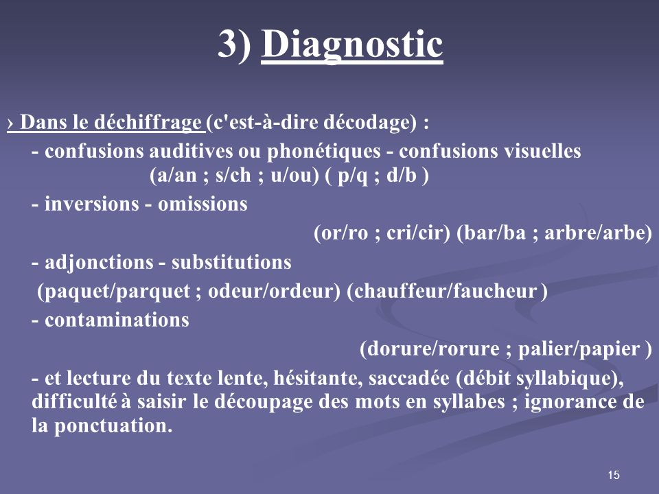 3) Diagnostic › Dans le déchiffrage (c est-à-dire décodage) :