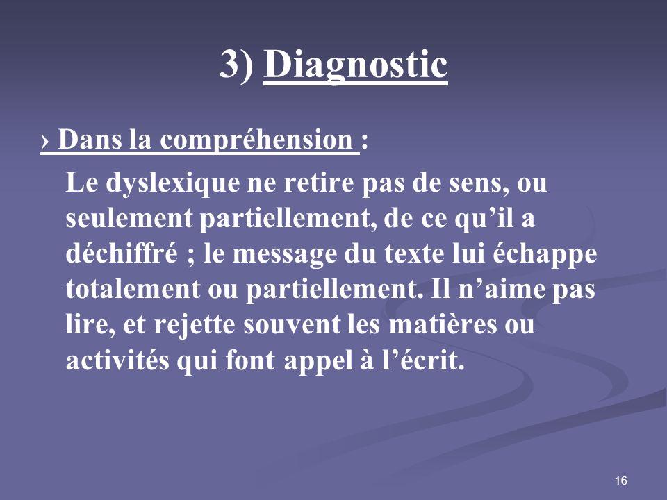 3) Diagnostic › Dans la compréhension :