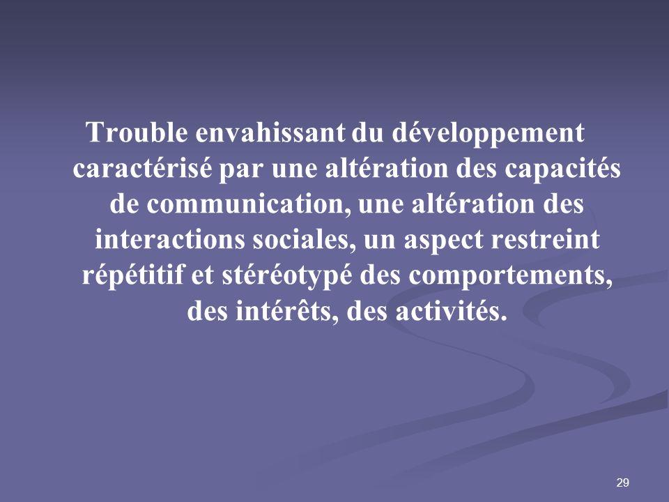 Trouble envahissant du développement caractérisé par une altération des capacités de communication, une altération des interactions sociales, un aspect restreint répétitif et stéréotypé des comportements, des intérêts, des activités.