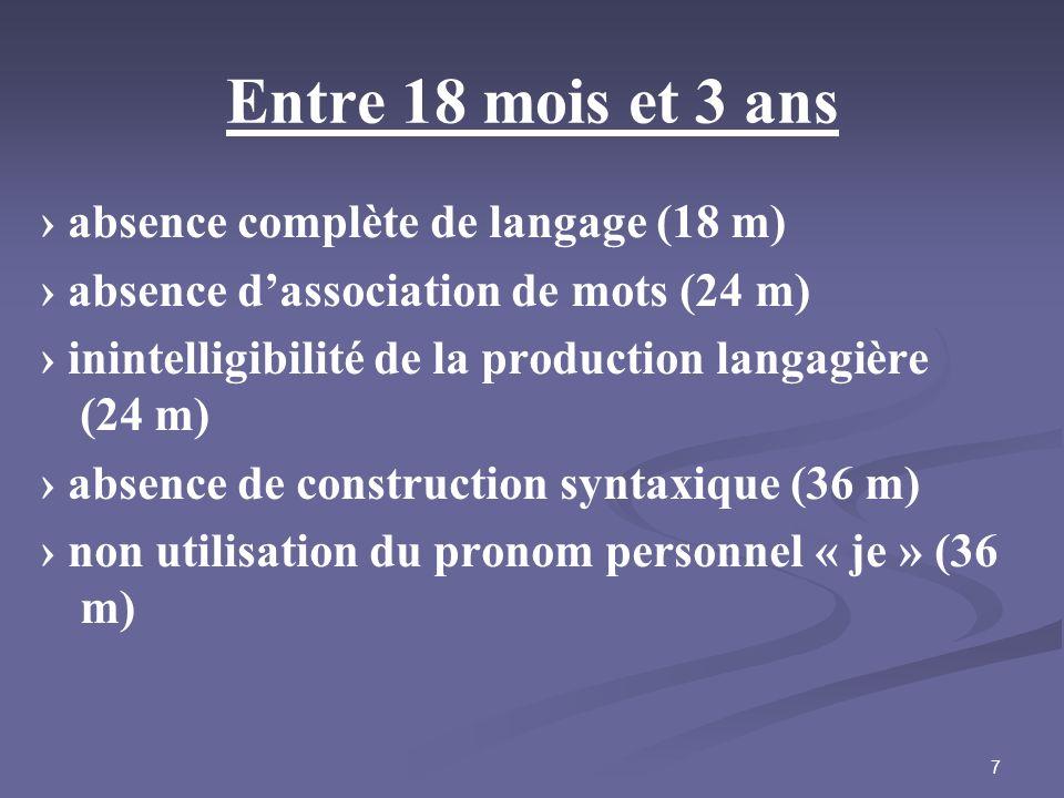 Entre 18 mois et 3 ans › absence complète de langage (18 m)