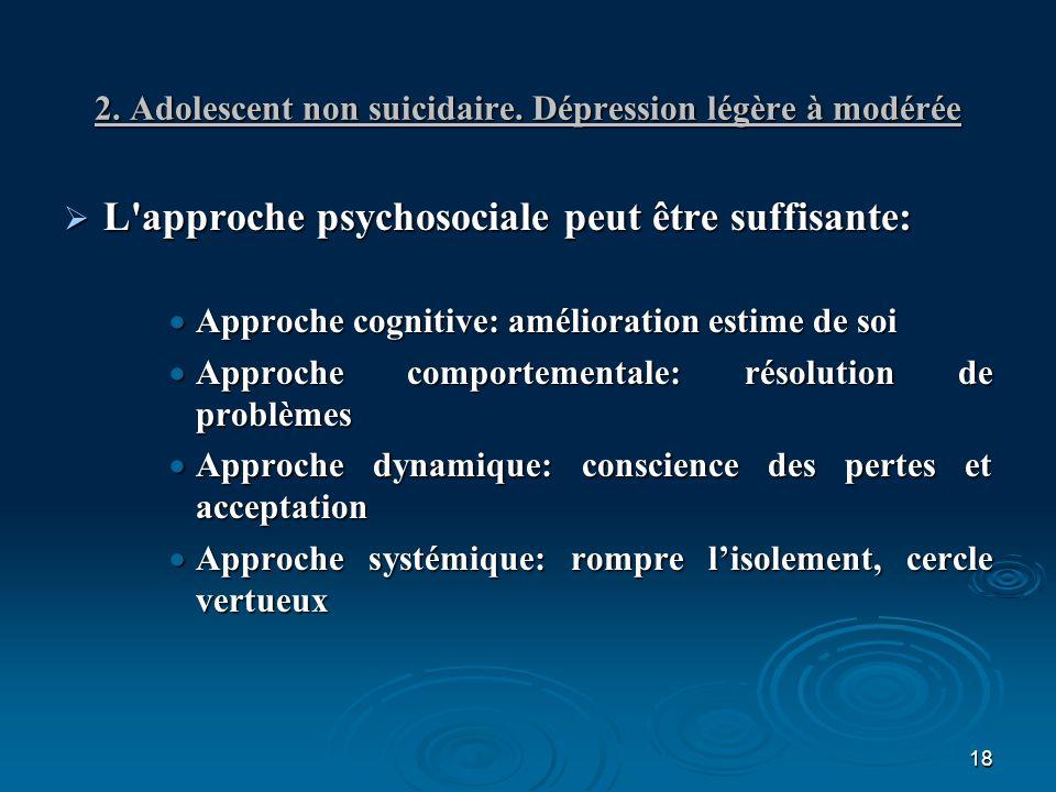 2. Adolescent non suicidaire. Dépression légère à modérée