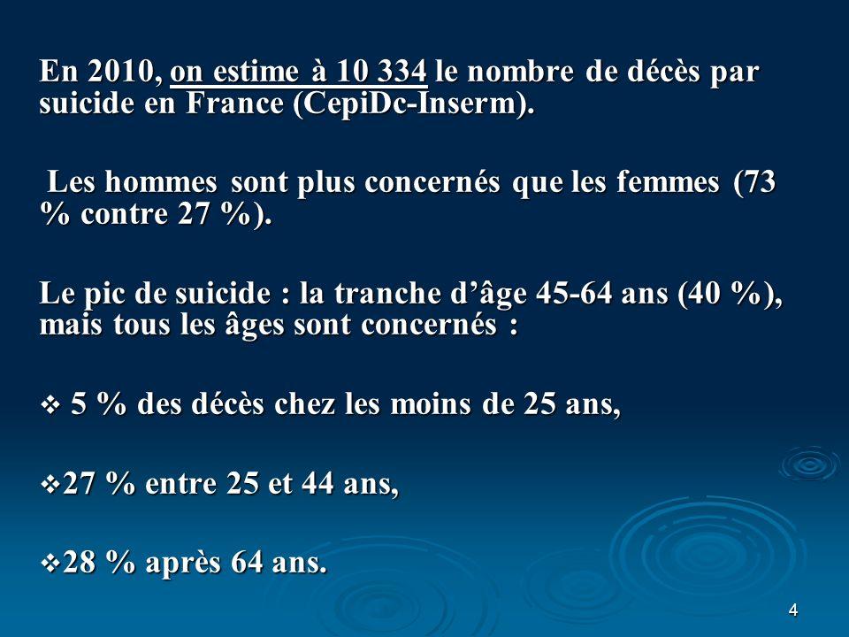 En 2010, on estime à 10 334 le nombre de décès par suicide en France (CepiDc-Inserm).