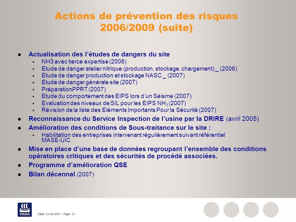 Actions de prévention des risques 2006/2009 (suite)