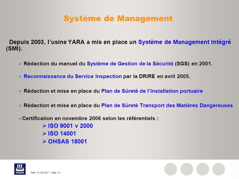 Système de Management Depuis 2003, l'usine YARA a mis en place un Système de Management Intégré (SMI).