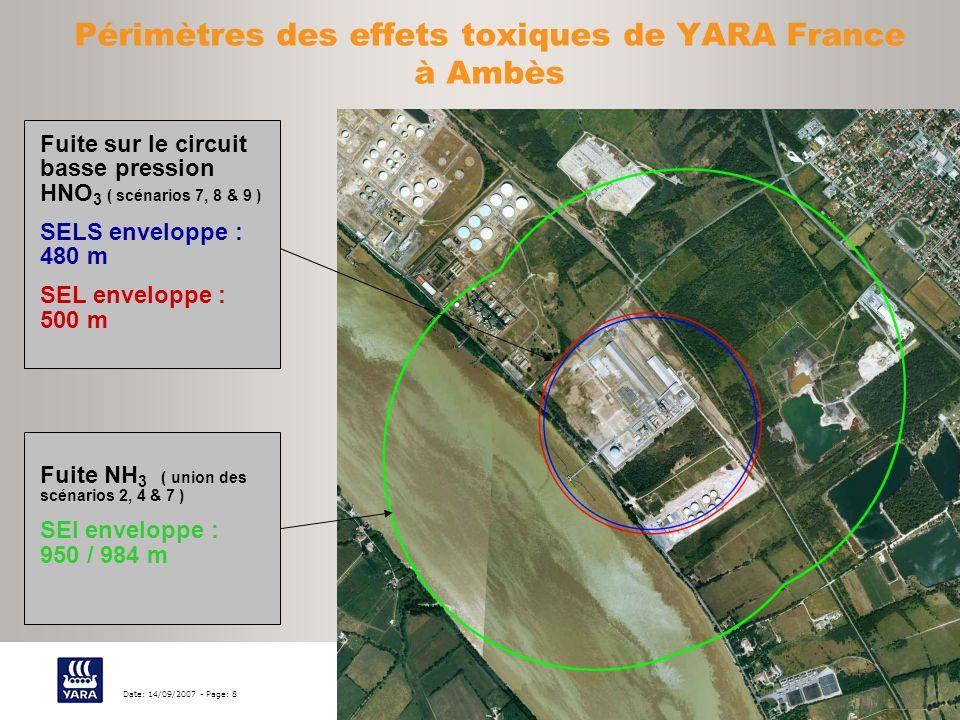 Périmètres des effets toxiques de YARA France à Ambès