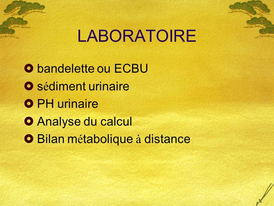LABORATOIRE bandelette ou ECBU sédiment urinaire PH urinaire