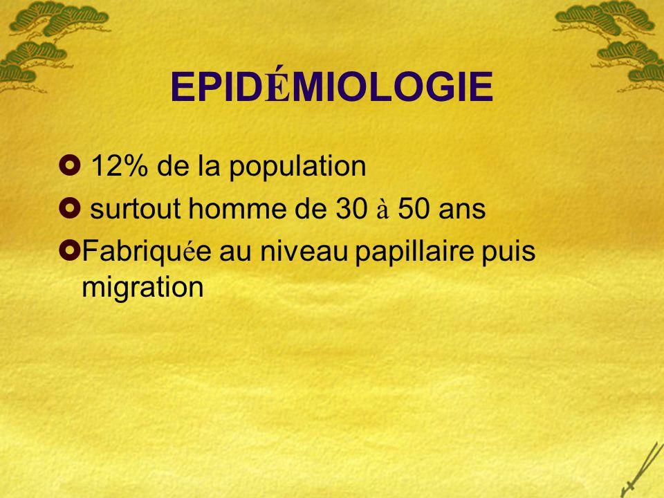 EPIDÉMIOLOGIE 12% de la population surtout homme de 30 à 50 ans