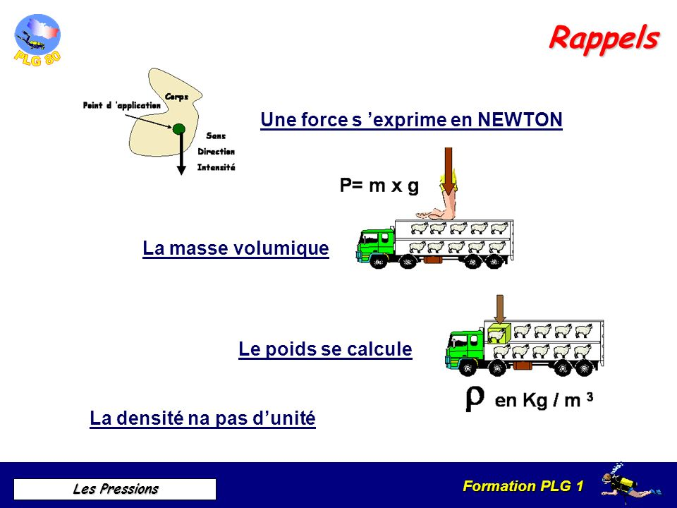 Rappels Une force s 'exprime en NEWTON La masse volumique
