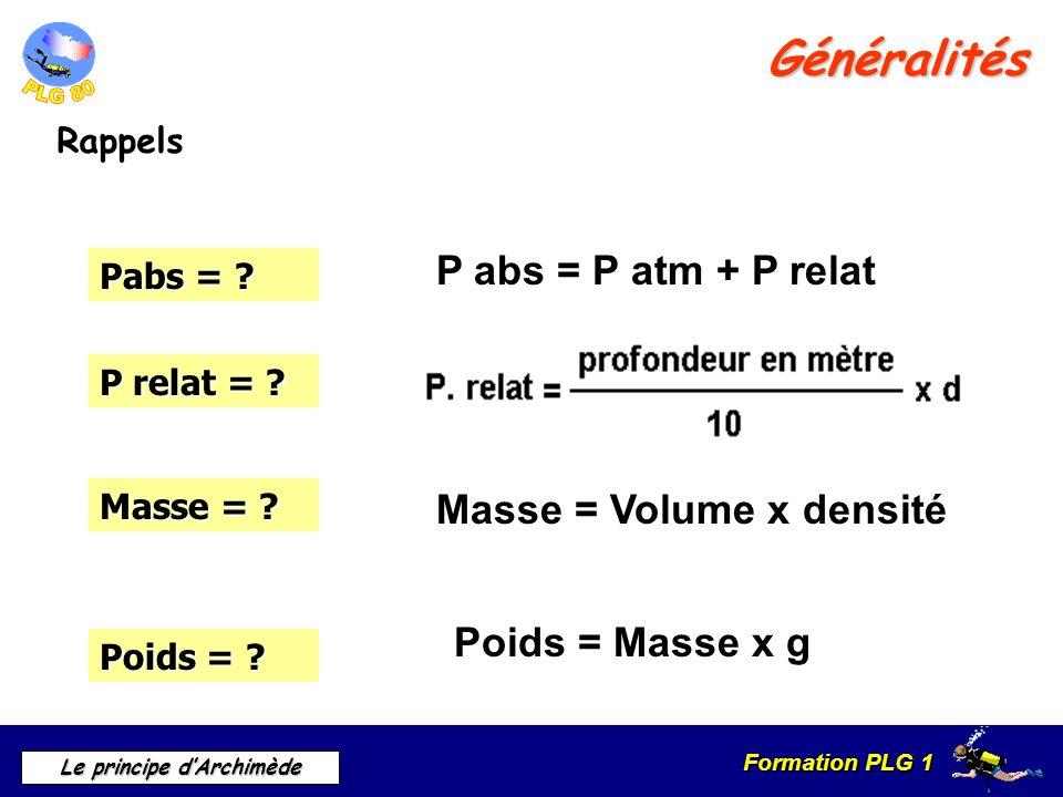 Généralités P abs = P atm + P relat Masse = Volume x densité