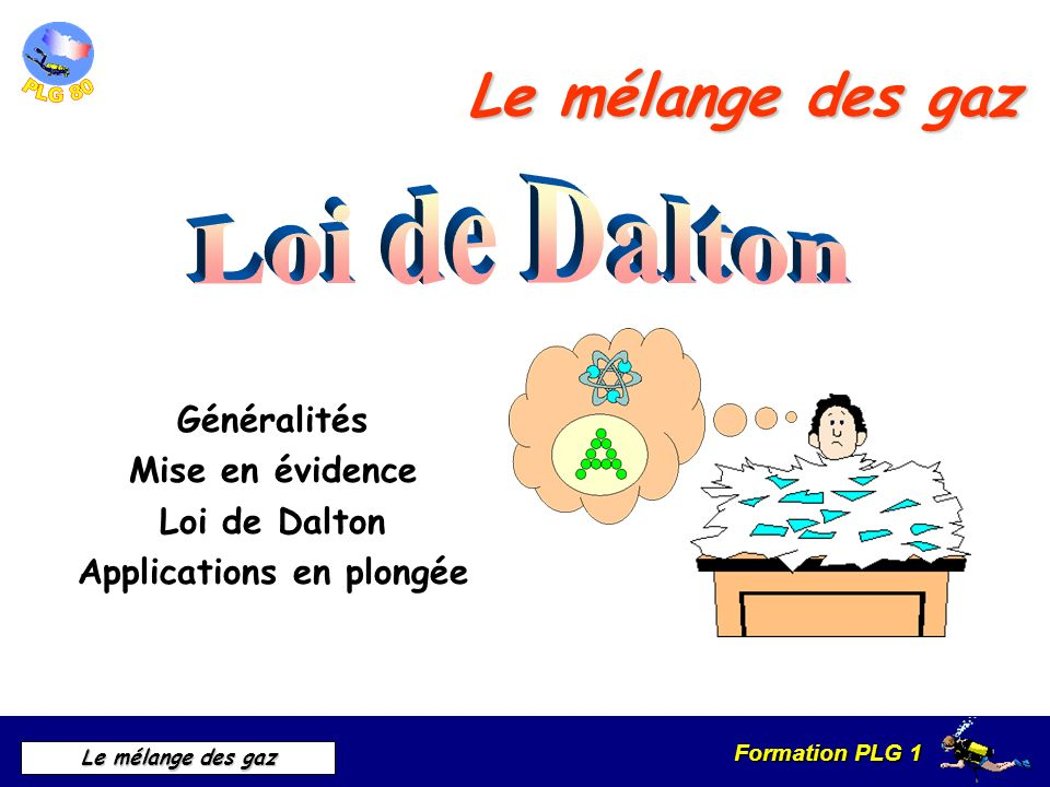 Généralités Mise en évidence Loi de Dalton Applications en plongée