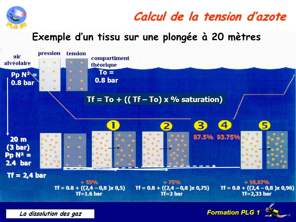 Calcul de la tension d'azote