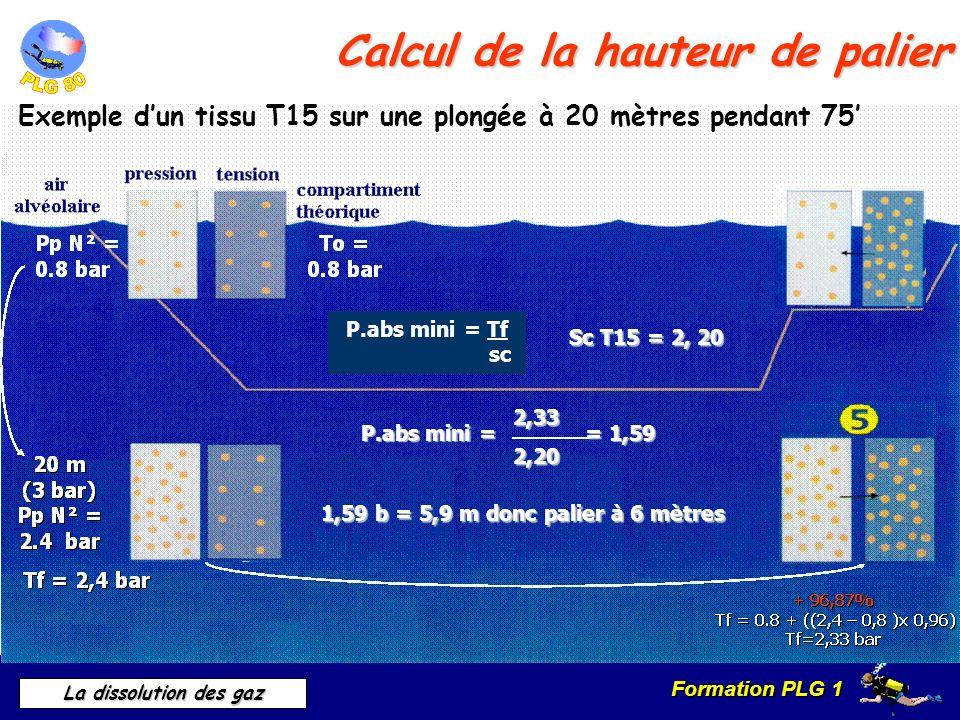 Calcul de la hauteur de palier