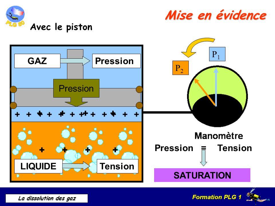 Mise en évidence Avec le piston P1 GAZ Pression P2 Pression + +