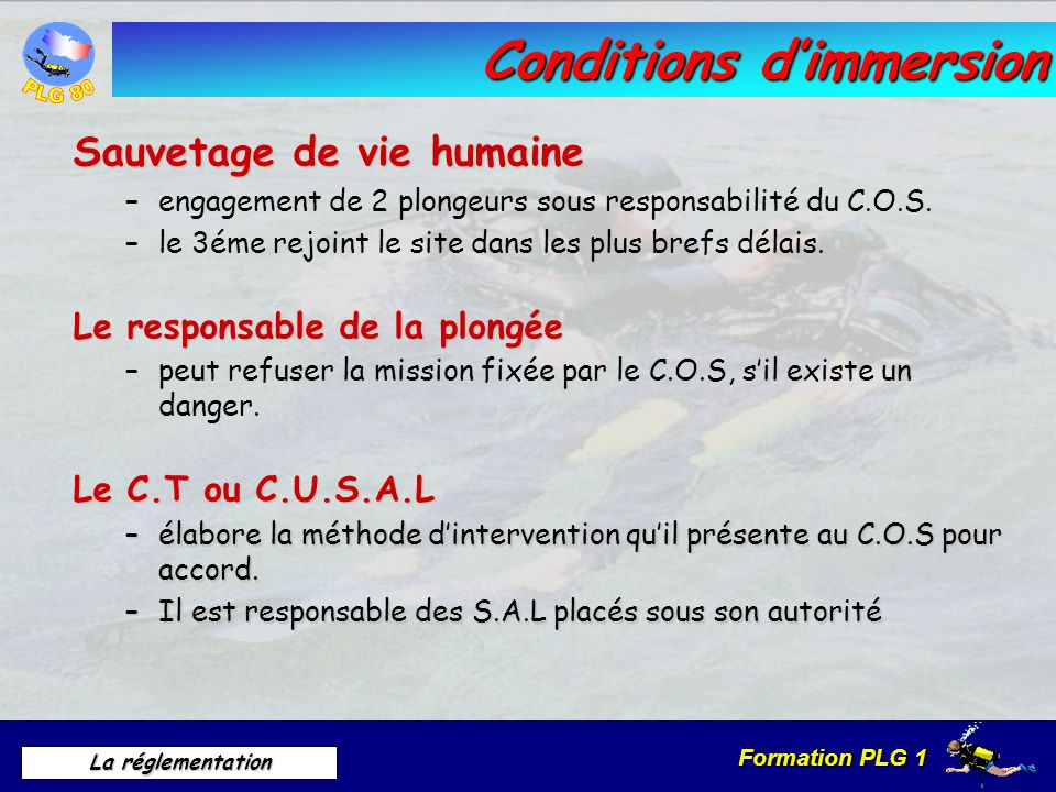Conditions d'immersion