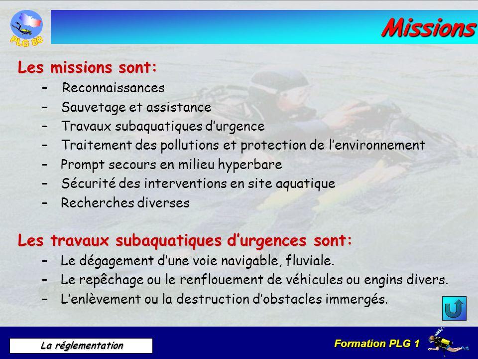 Missions Les missions sont: Les travaux subaquatiques d'urgences sont: