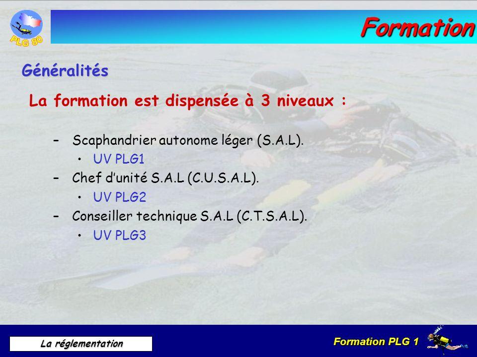 Formation Généralités La formation est dispensée à 3 niveaux :