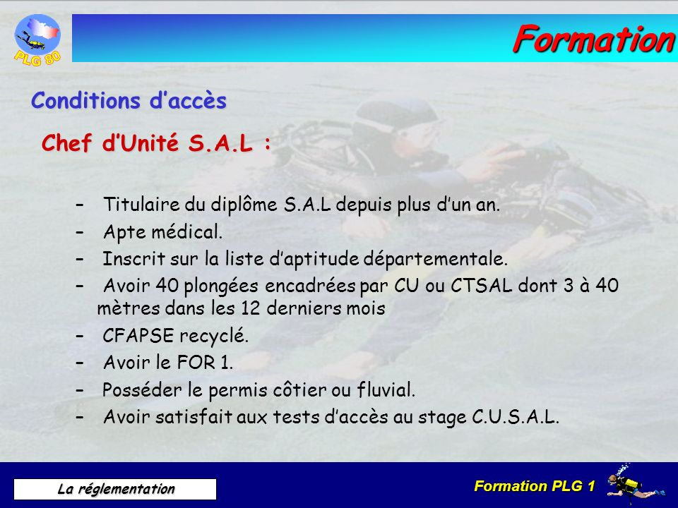 Formation Conditions d'accès Chef d'Unité S.A.L :