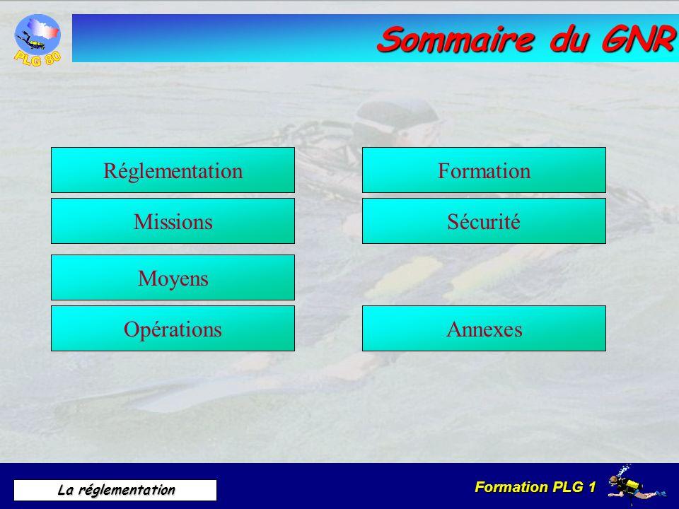 Sommaire du GNR Réglementation Formation Missions Sécurité Moyens
