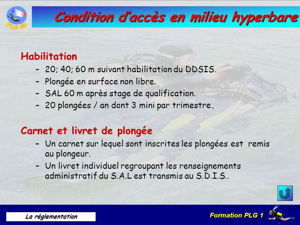 Condition d'accès en milieu hyperbare