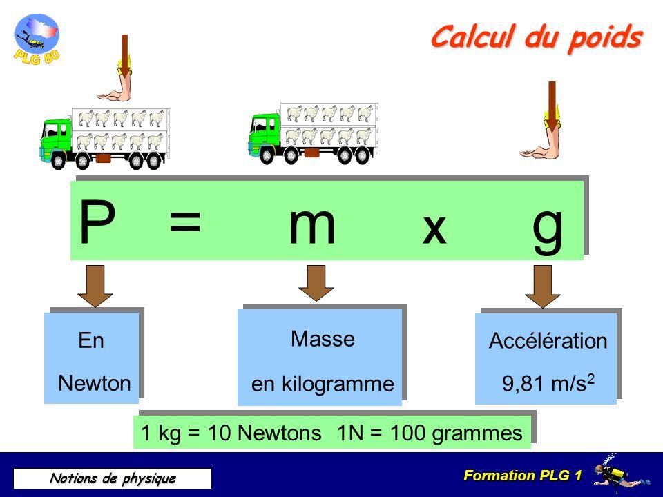 P = m X g Calcul du poids Masse En Accélération en kilogramme Newton