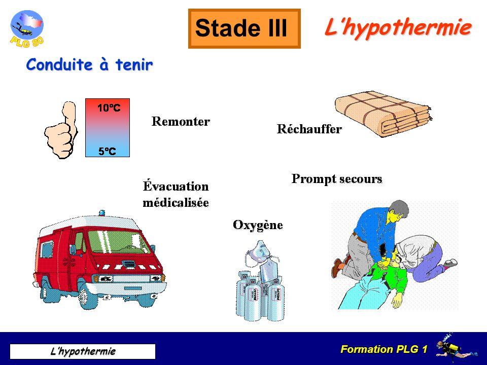 Stade III L'hypothermie Conduite à tenir Symptômes