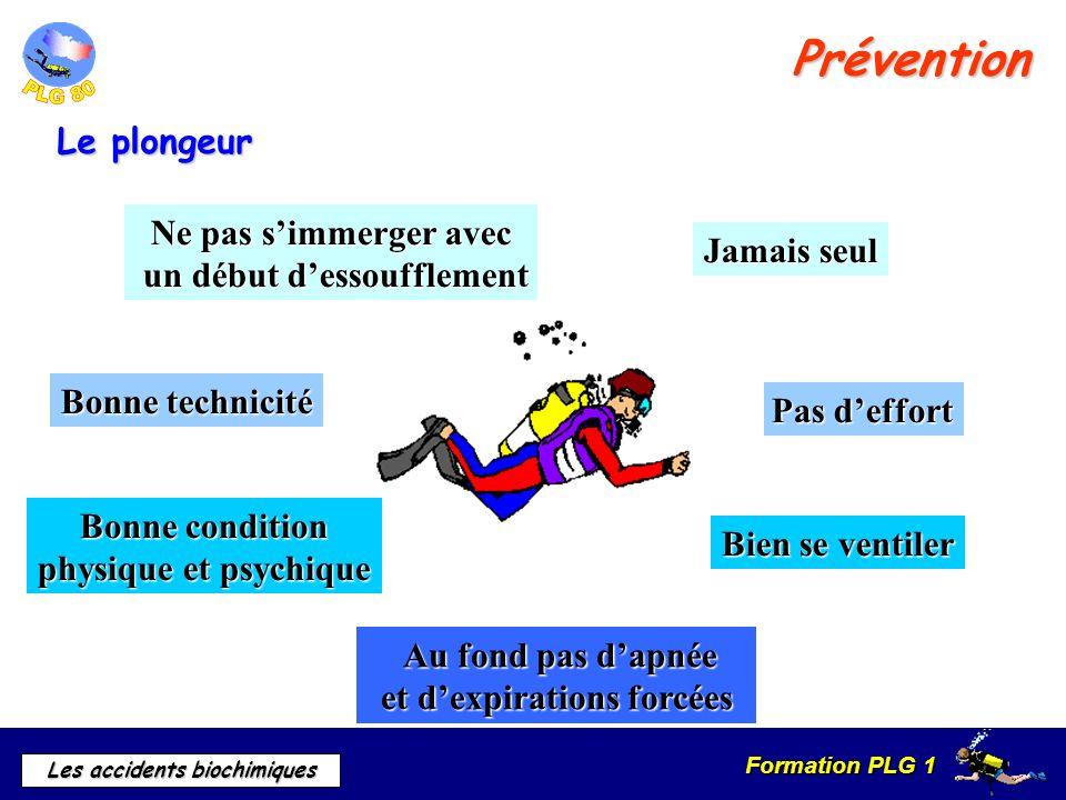 Prévention Le plongeur Ne pas s'immerger avec un début d'essoufflement