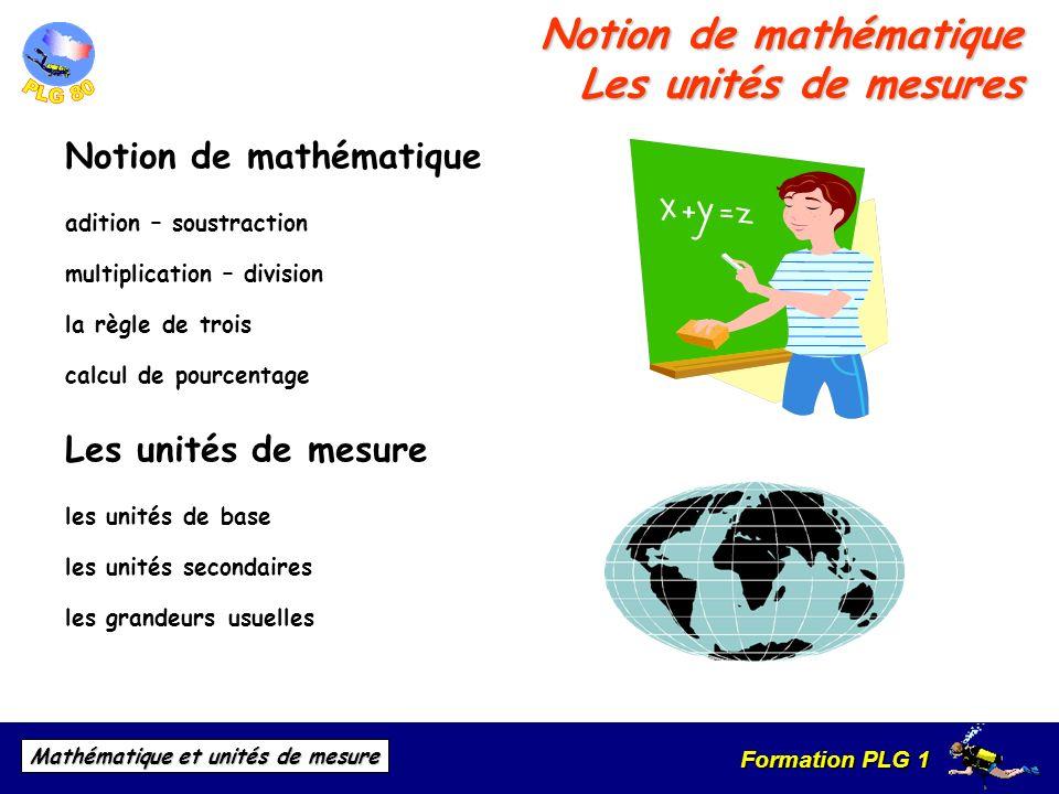 Notion de mathématique Les unités de mesures
