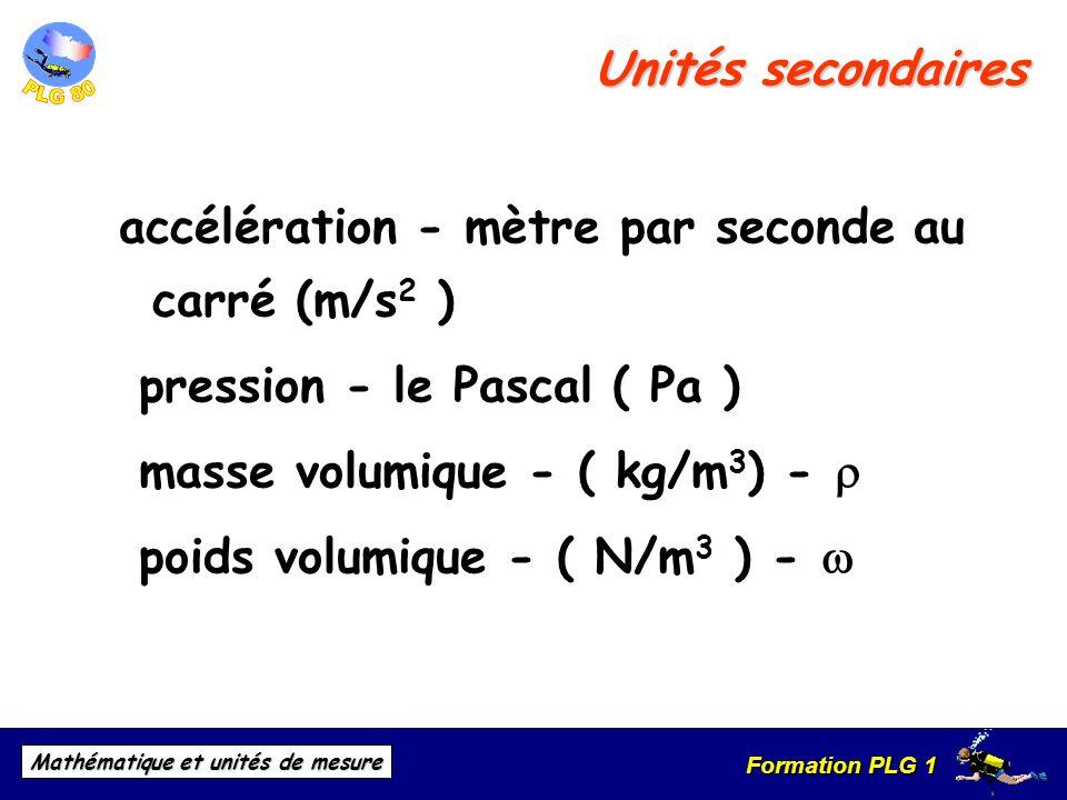 Unités secondairesaccélération - mètre par seconde au carré (m/s2 ) pression - le Pascal ( Pa ) masse volumique - ( kg/m3) - r.