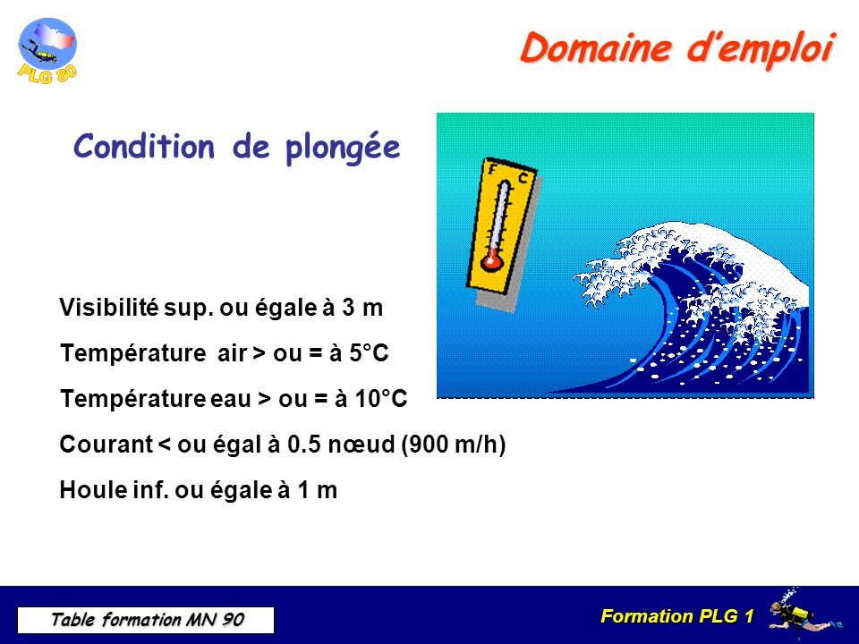 Domaine d'emploi Condition de plongée Visibilité sup. ou égale à 3 m