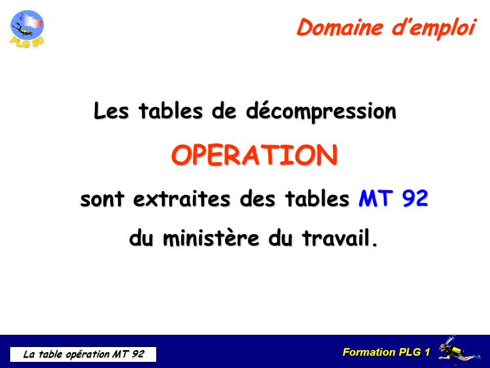 Domaine d'emploi Les tables de décompression OPERATION sont extraites des tables MT 92 du ministère du travail.