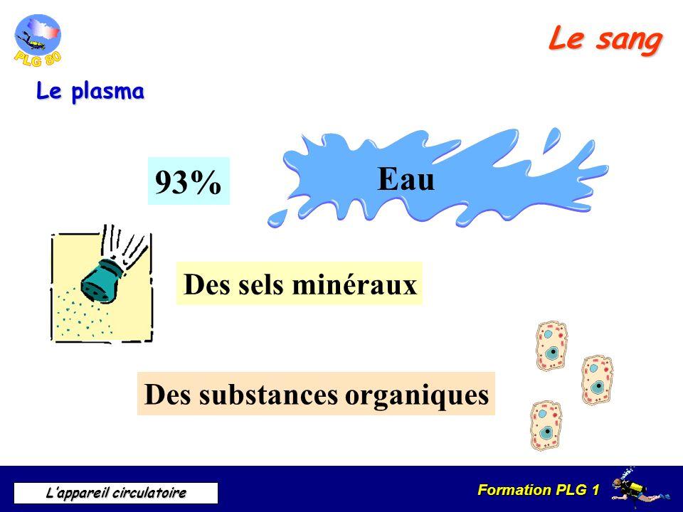 Eau 93% Le sang Des sels minéraux Des substances organiques Le plasma