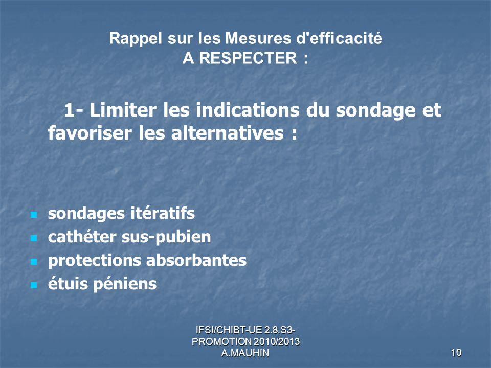Rappel sur les Mesures d efficacité A RESPECTER :