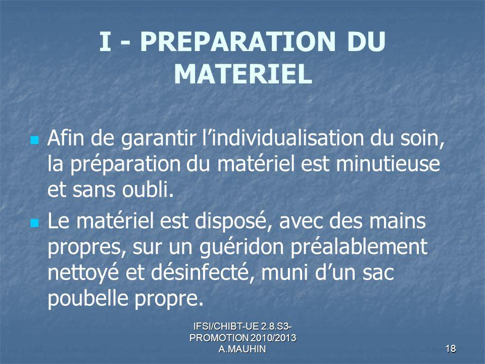 I - PREPARATION DU MATERIEL