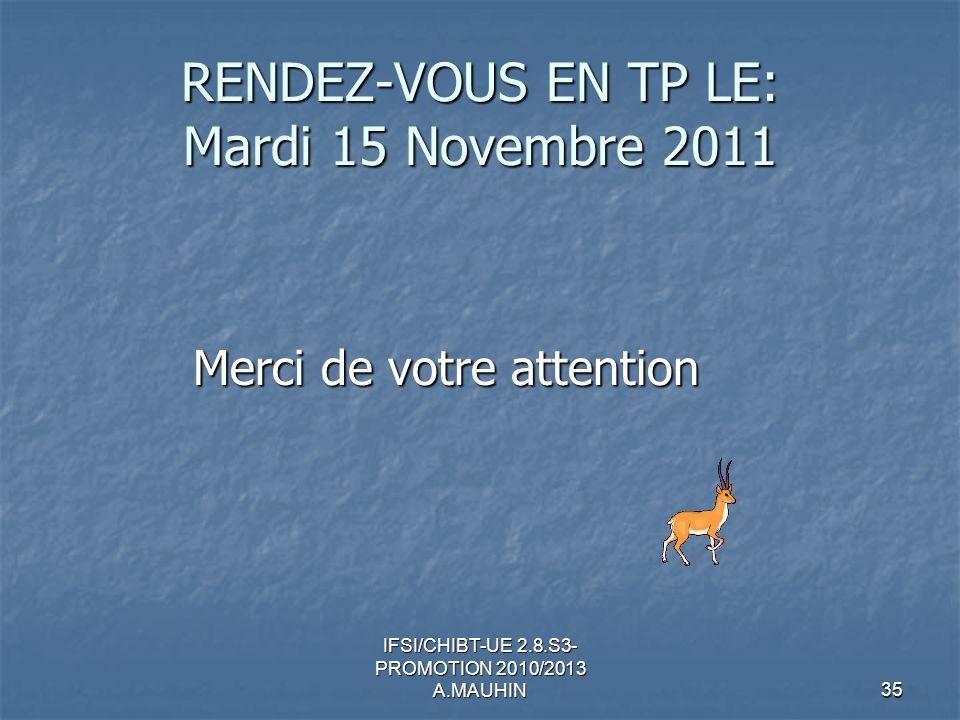 RENDEZ-VOUS EN TP LE: Mardi 15 Novembre 2011