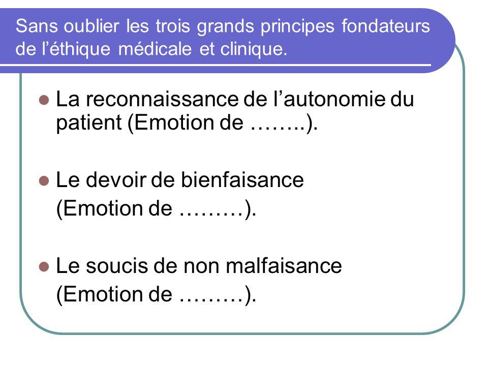 La reconnaissance de l'autonomie du patient (Emotion de ……..).
