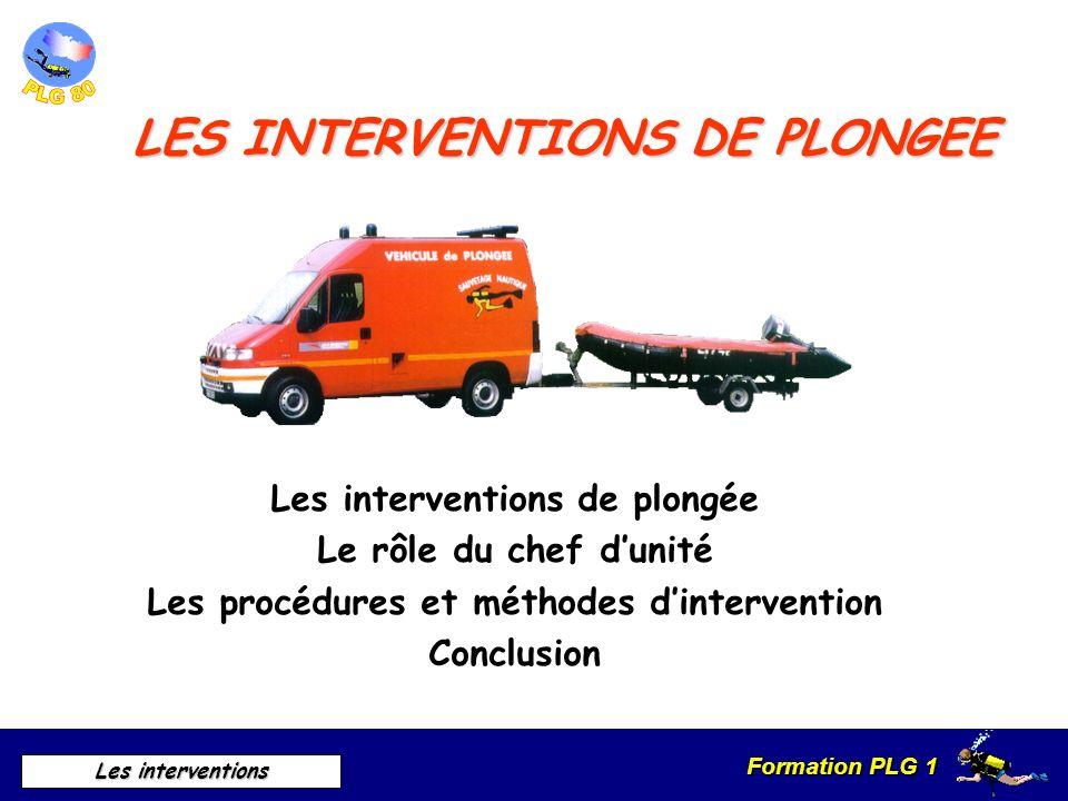 LES INTERVENTIONS DE PLONGEE