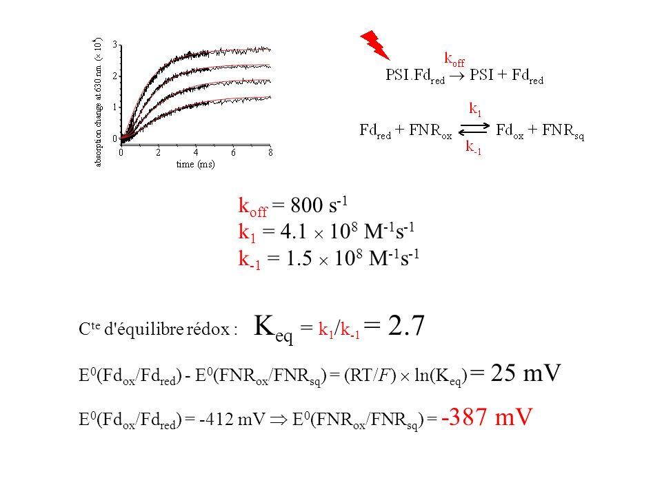 koff = 800 s-1 k1 = 4.1  108 M-1s-1 k-1 = 1.5  108 M-1s-1