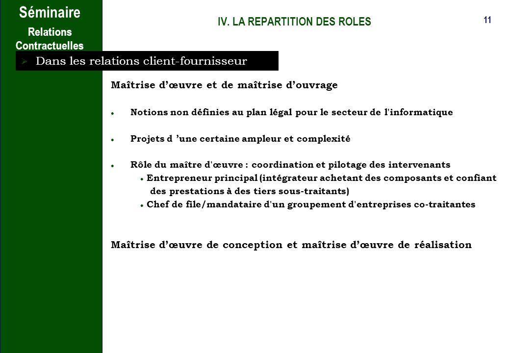 IV. LA REPARTITION DES ROLES