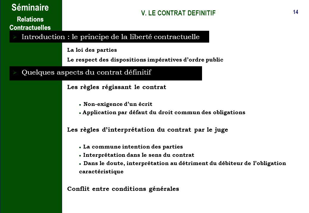 Introduction : le principe de la liberté contractuelle