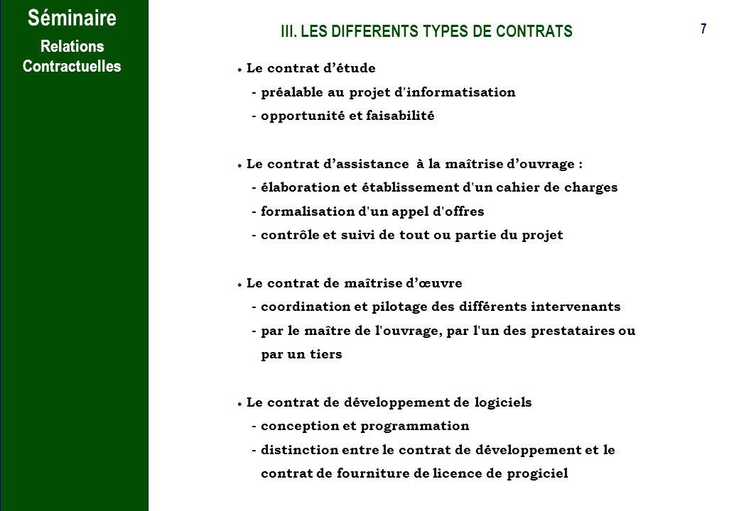 III. LES DIFFERENTS TYPES DE CONTRATS