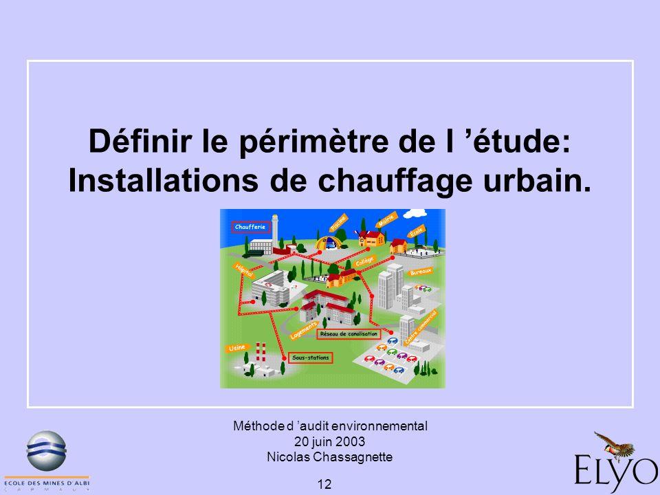 Définir le périmètre de l 'étude: Installations de chauffage urbain.