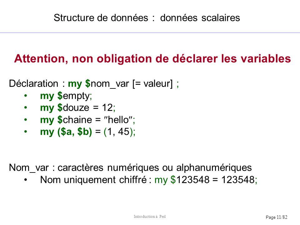 Structure de données : données scalaires