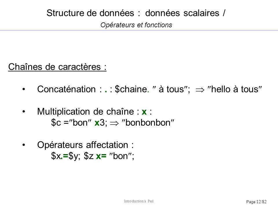 Structure de données : données scalaires / Opérateurs et fonctions