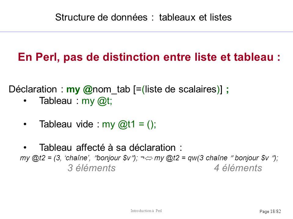 Structure de données : tableaux et listes