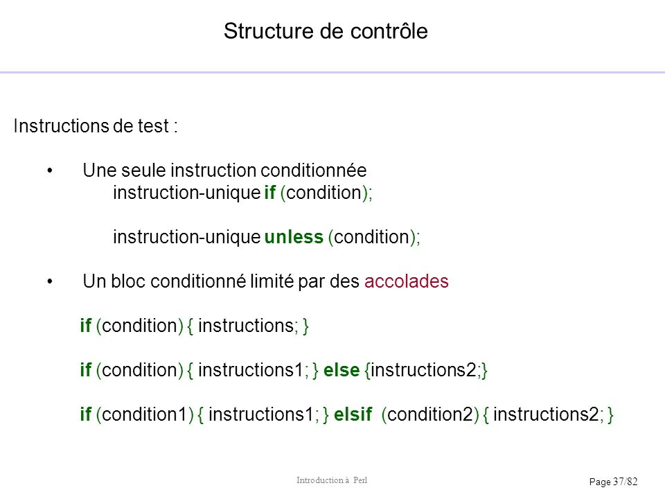 Structure de contrôle Instructions de test :