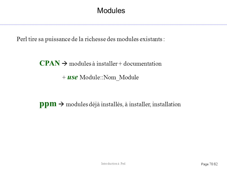 CPAN  modules à installer + documentation