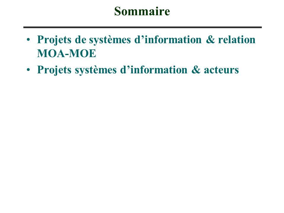 Sommaire Projets de systèmes d'information & relation MOA-MOE